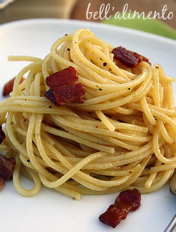 plate of spaghetti carbonara