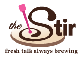 The Stir logo, reads fresh talk always brewing