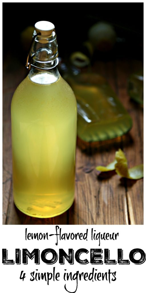 Pinterest Image. Bottles of homemade limoncello with lemon peels surrounding. Text overlay that reads lemon flavored liqueur limoncello 4 simple ingredients.