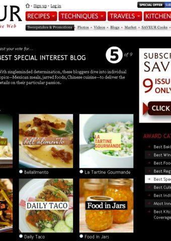 1st Annual SAVEUR Best Food Blog Awards Nomination