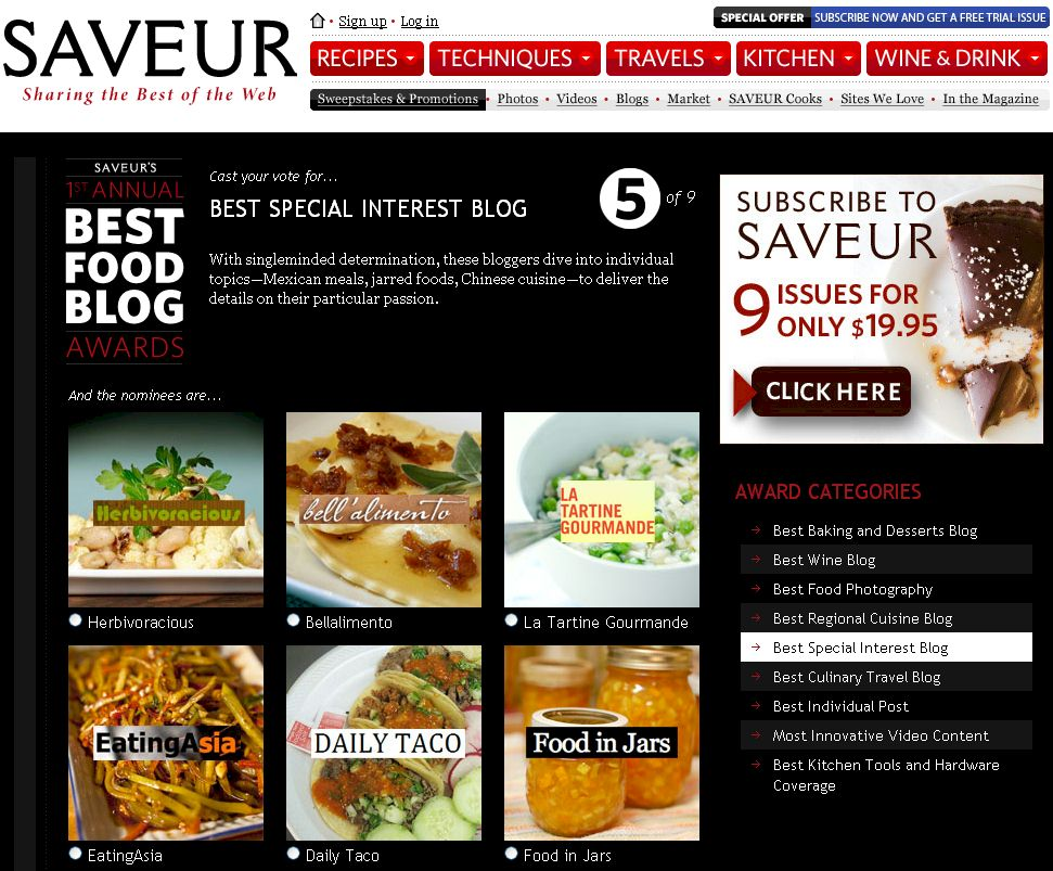 1st Annual SAVEUR Best Food Blog Awards Nomination