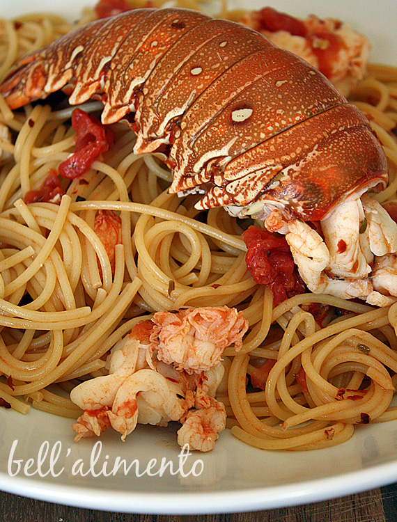 lobster pasta in white bowl