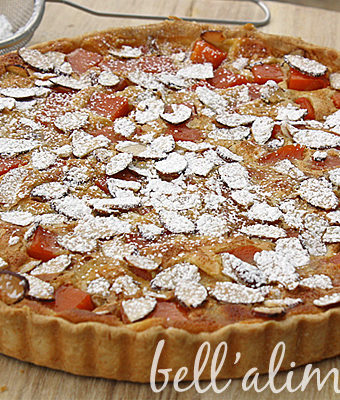 squash pie with sliced almonds on top.
