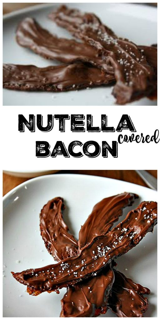 bacon coated with nutella on white plate