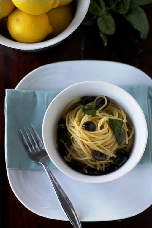 Spaghetti with Olives & Lemon