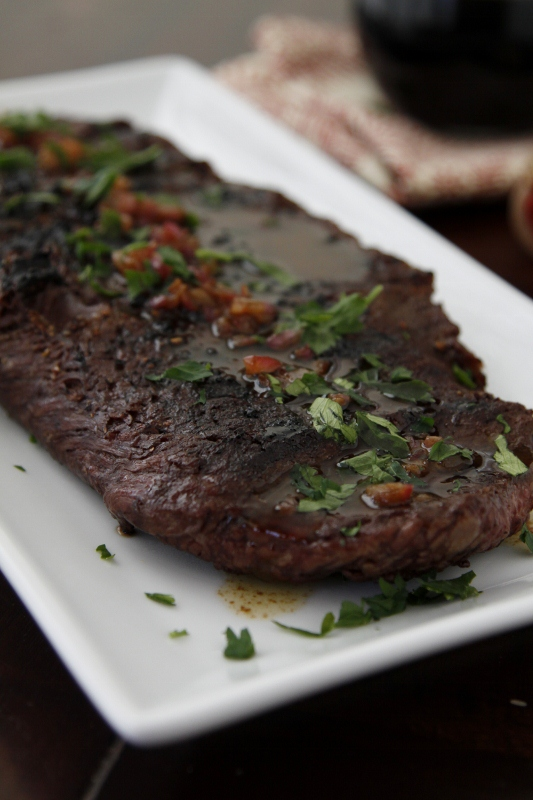 Flank Steak with Shallot Butter and Balsamic Sauce | bell' alimento