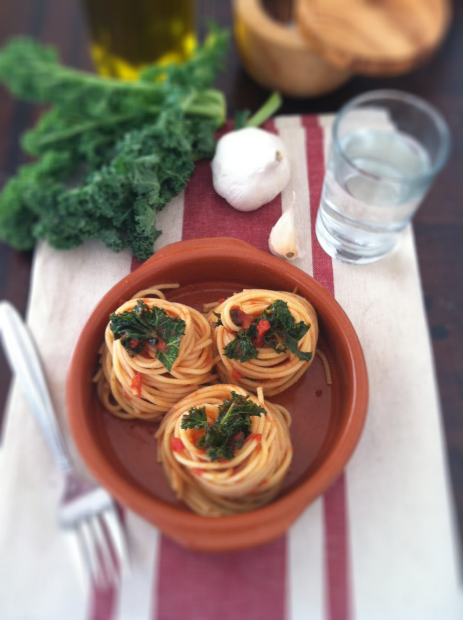 Vegetarian Whole Wheat Pasta With Fried Kale, Tomato Sauce, And Goat ...