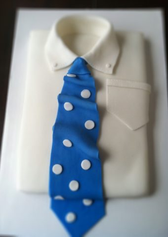 shirt and blue tie with polka dots fondant cake