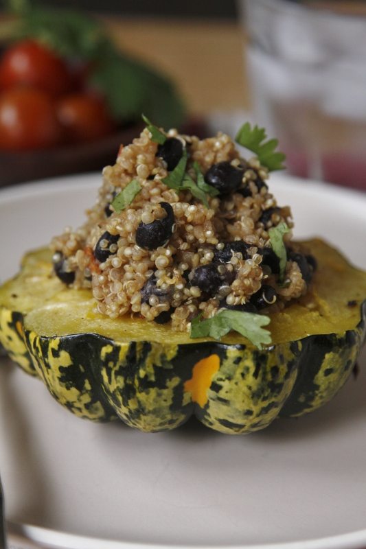 Quinoa-Stuffed Acorn Squash Rings Recipe — Dishmaps