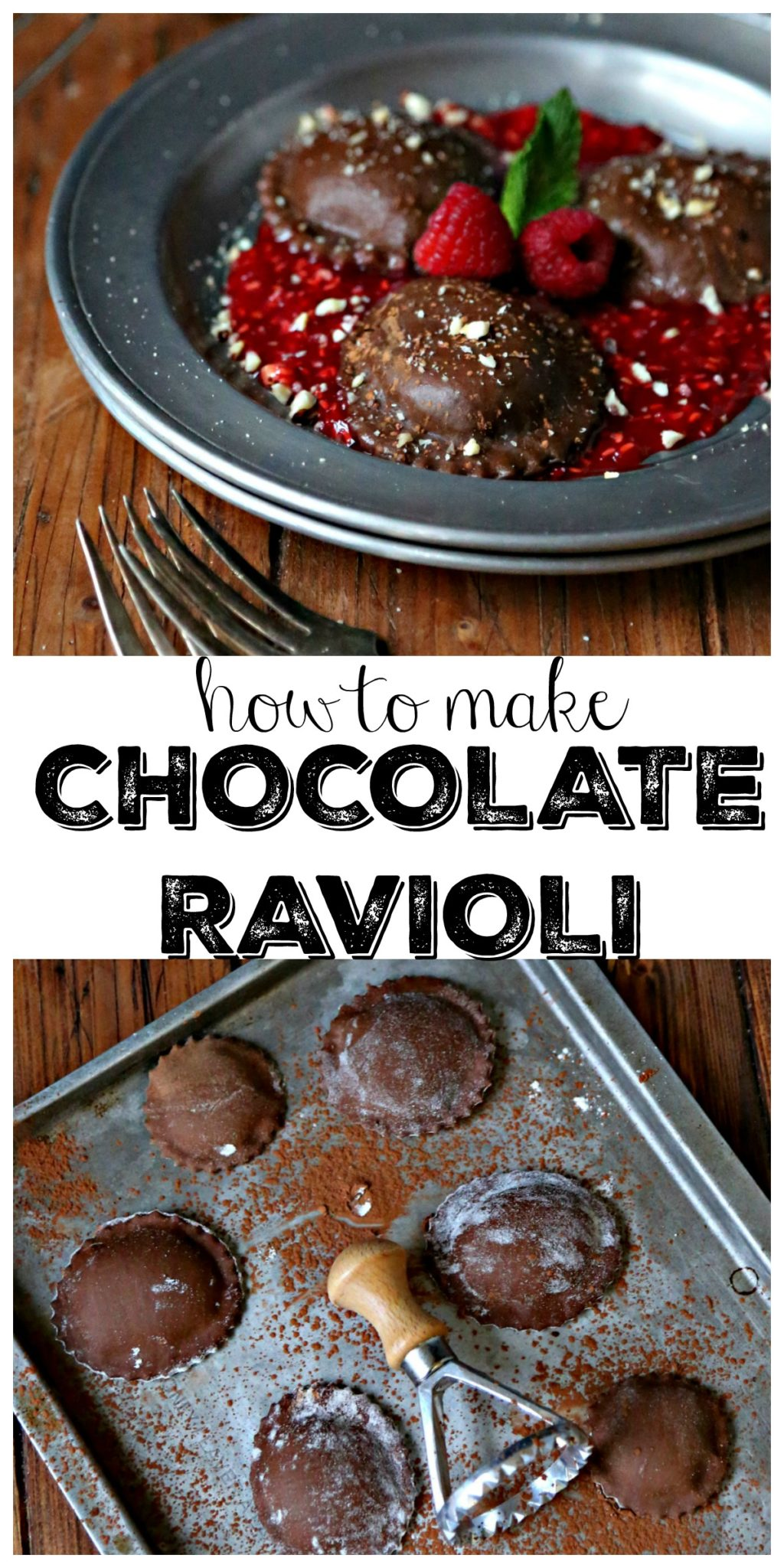 Pinterest image. Chocolate ravioli over raspberry puree on plate with forks text overlay chocolate ravioli on baking sheet with ravioli stamp. Text overlay that reads How To Make Chocolate Ravioli.
