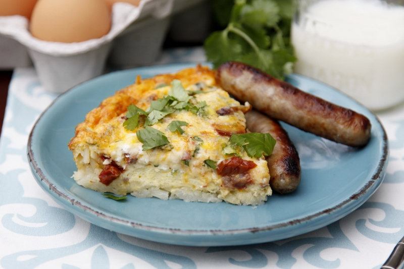 Sausage Quiche with Hashbrown Crust