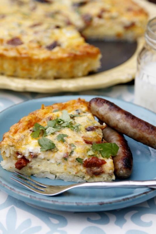 Sausage Quiche with Hash Brown Crust | bell' alimento