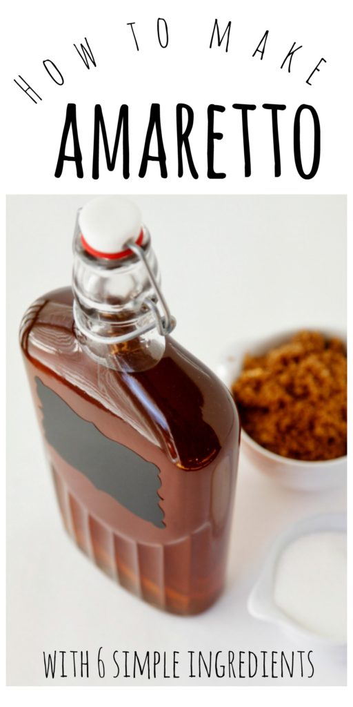 Bottle of homemade amaretto with bowl of brown sugar with text overlay