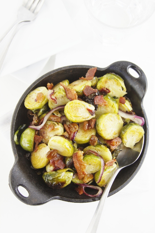 Roasted Brussels sprouts, tossed with sauteed onion, bacon and raisins ...