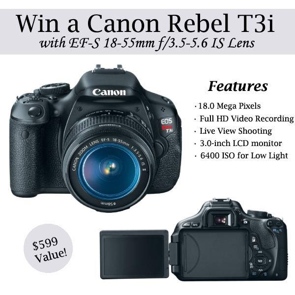 sc 1 st  DoughMessTic.com & Canon EOS Rebel T3i Camera GIVEAWAY! azcodes.com