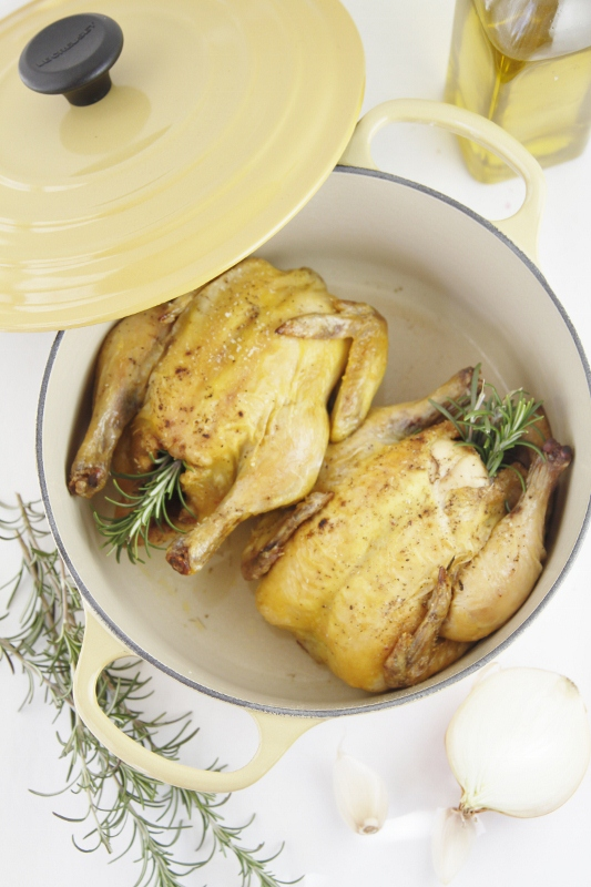 cornish hens inside French oven.