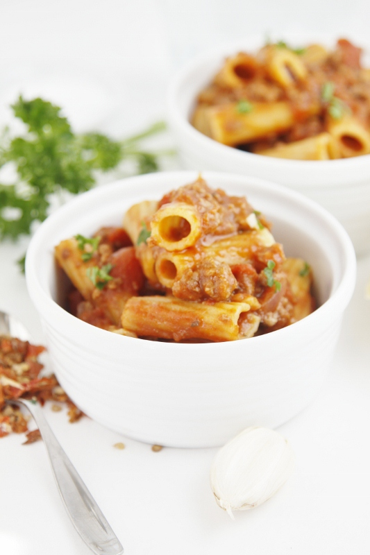 Weeknight Meat Sauce with Rigatoni | bell' alimento