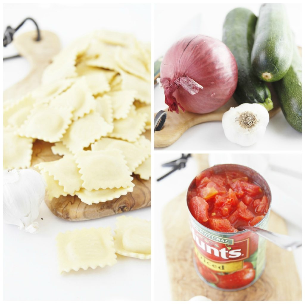 Collage of 3 different photos. Ravioli scattered on top of cutting board. Red onion, zucchini and garlic bulb on cutting board. Can of Hunt's tomatoes open sitting on cutting board.