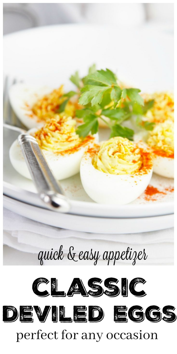 Classic Deviled Eggs are a quick and easy appetizer that is perfect for any occasion #glutenfree #glutenfreerecipes #appetizer #eggs #deviledeggs