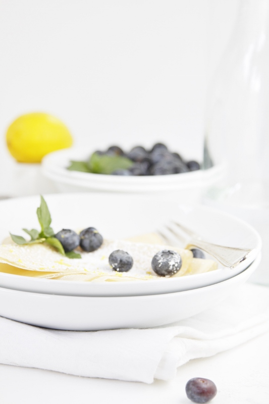 Lemon Crepes with Blueberries