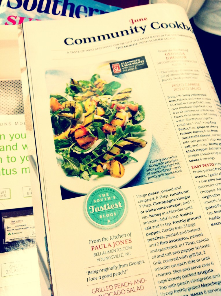 Photo of Southern Living Magazine June 2013 opened to page with Grilled Peach and Avocado Summer Salad.