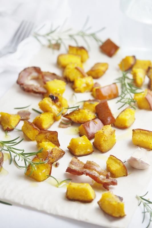 Roasted Pumpkin with Bacon and Rosemary on baking sheet