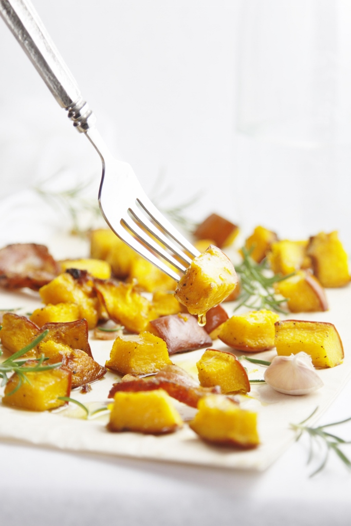 Roasted Pumpkin with Bacon and Rosemary www.bellalimento.com