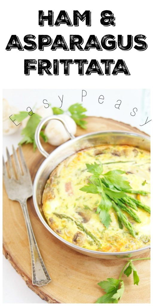 Ham Mushroom Asparagus Frittata. Perfect for breakfast, brunch or brinner. #frittata #breakfast #brunch #ham #brinner