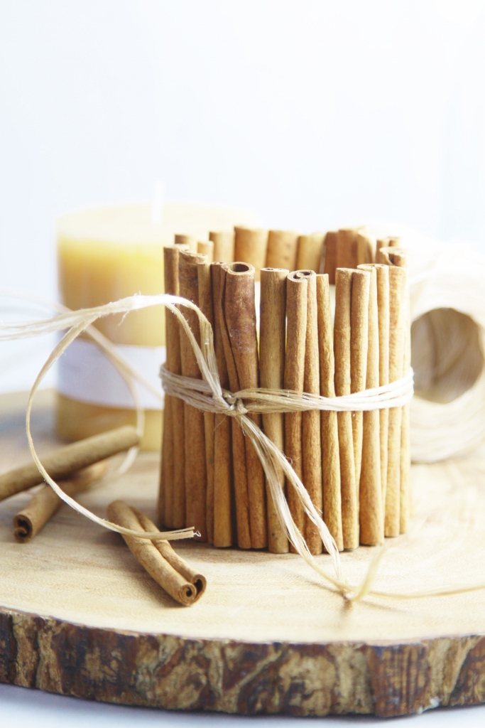 DIY Cinnamon Wrapped Candle www.bellalimento.com