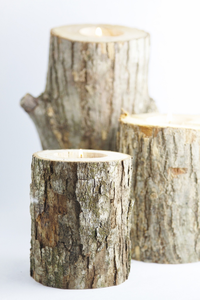 DIY Rustic Log Candles www.bellalimento.com