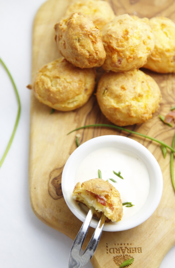 Ranch Bacon and Chive Gougeres www.bellalimento.com
