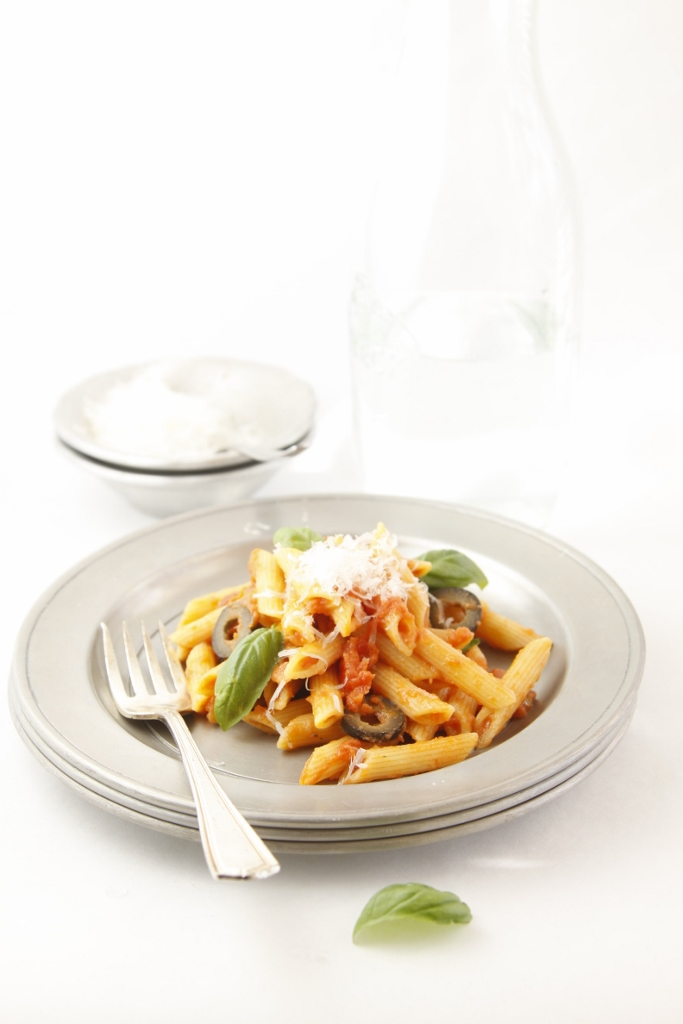 Penne with Tomatoes and Olives www.bellalimento.com
