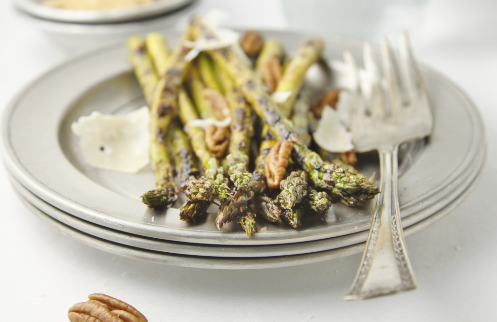 Grilled Asparagus with Pecans and Parmesan