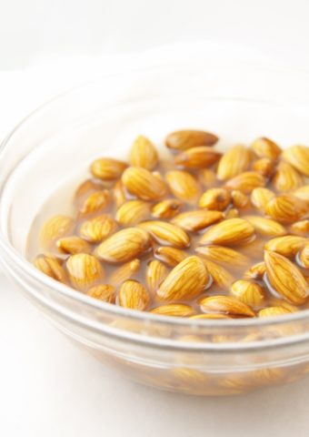 bowl of almonds soaking