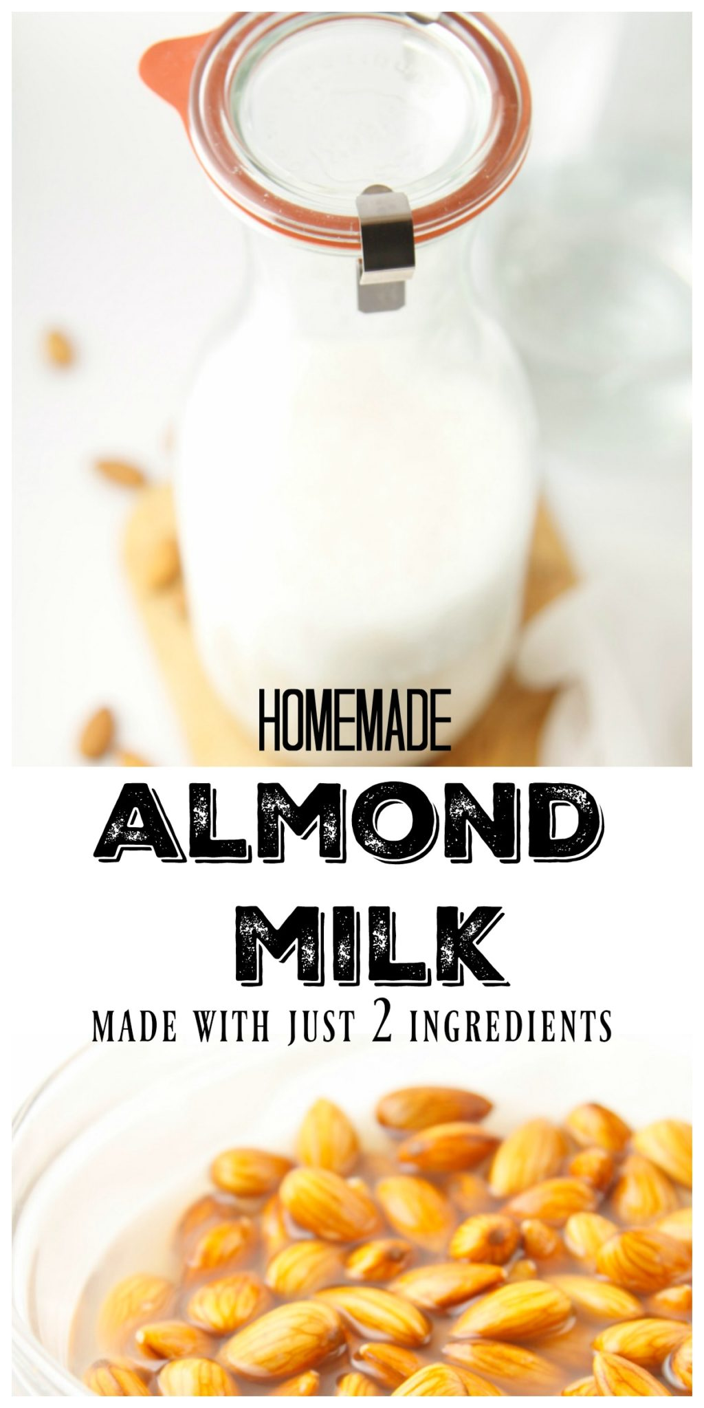 Learn how to make homemade almond milk with just 2 simple ingredients! #almondmilk #dairyfree #beverage #homemade #howto #diy
