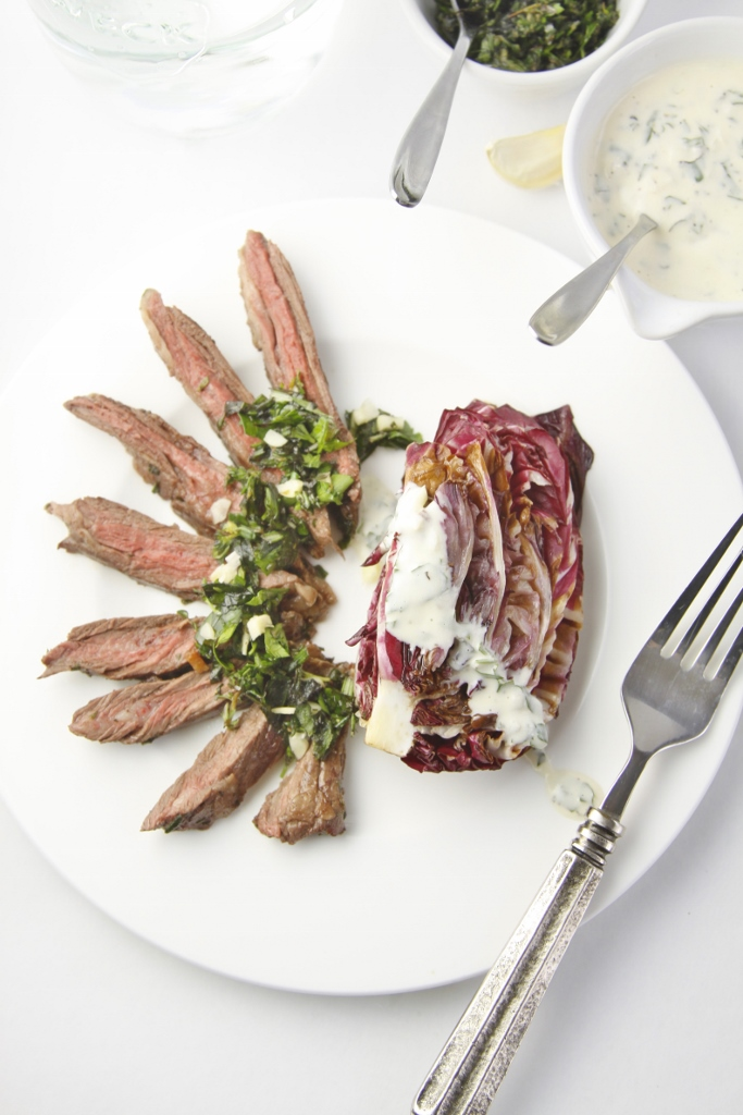 Italian Steak with Grilled Raddicchio Salad www.bellalimento.com
