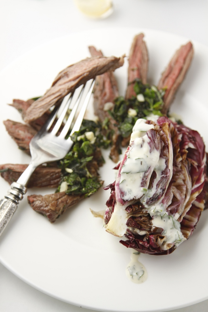 Italian Steak with Grilled Radicchio Salad www.bellalimento.com