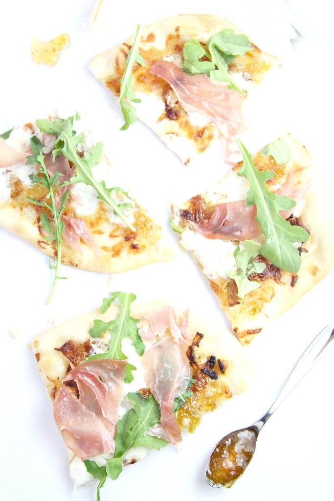 Burrata Prosciutto and Carmelized Onion Pizza www.bellalimento.com