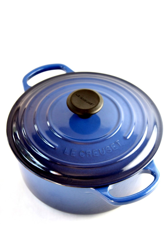 Lapis Le Creuset French oven with lid.