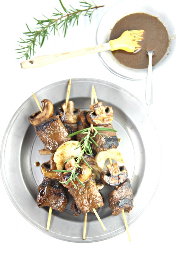 Grilled Balsamic Steak and Mushroom Kebabs