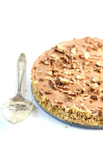 nutella cheesecake and silver serving spooon