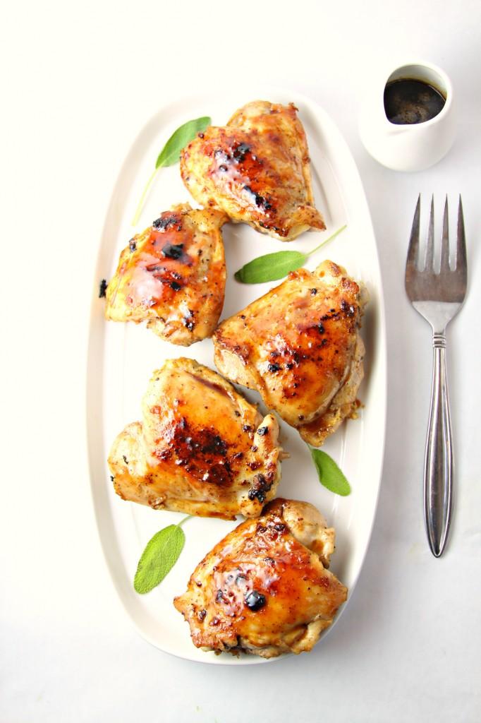Cranberry Sage Glazed Grilled Chicken Thighs