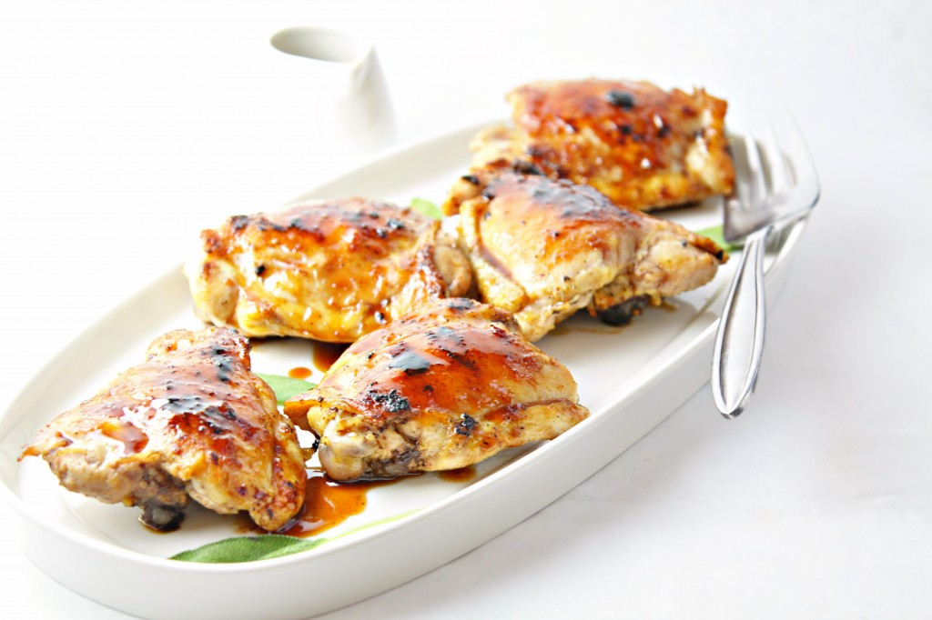 Cranberry Sage Glazed Grilled Chicken Thighs