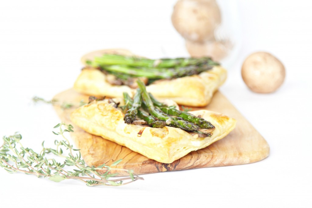 Sauteed Mushroom Asparagus Puff Pastry Appetizer