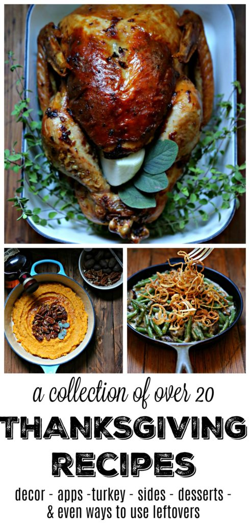 Favorite Recipes for Your Thanksgiving Table turkey, green bean casserole in skillet, sweet potato mash in blue pot