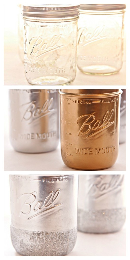 DIY Painted Glitter Rimmed Mason Jars