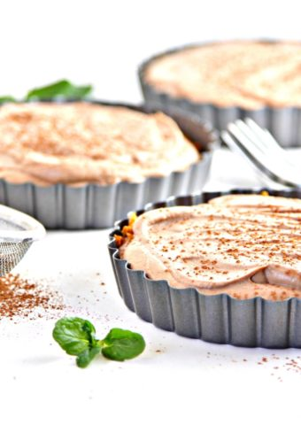 Ginger Snap Crusted Chocolate Mousse Tarts with fork