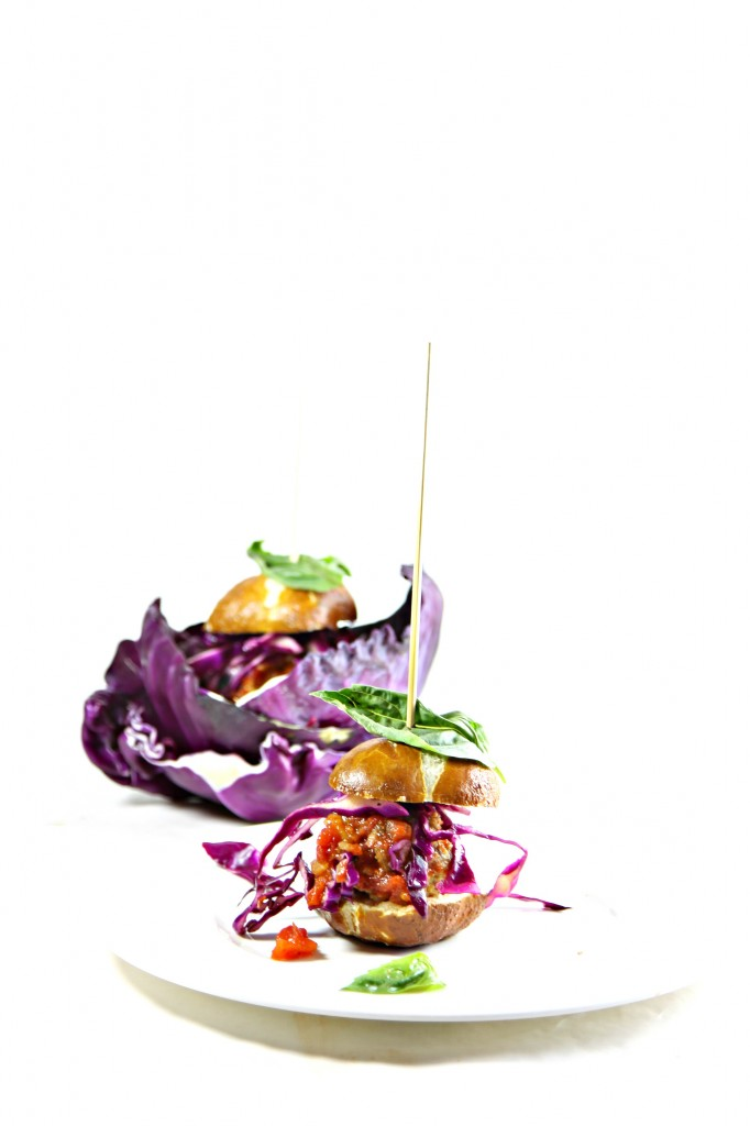 Spicy Meatball Sliders with Quick Pickled Cabbage