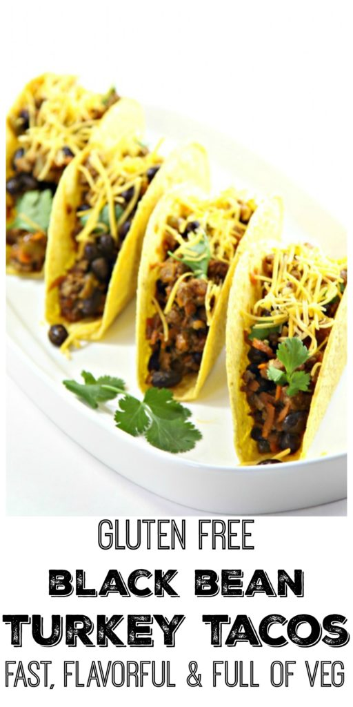 4 black bean turkey tacos standing on a shallow white dish.