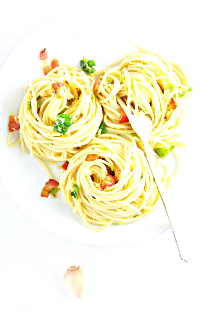 Spaghetti with Spicy Shaved Brussels Sprouts